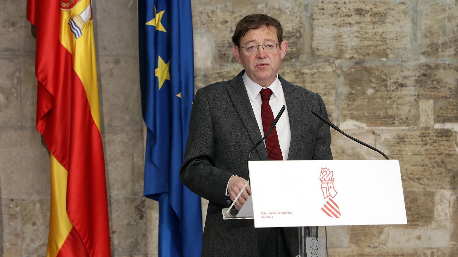 El president de la Generalitat Valenciana, Ximo Puig, durant la seva compareixença aquest dimecres