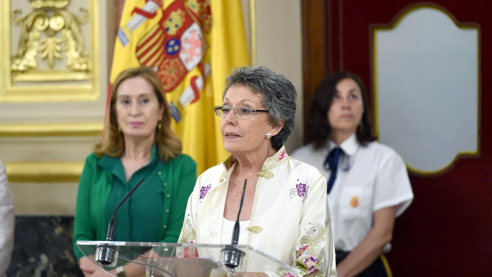 Rosa María Mateo, durant l'acte de presa de possessió com a administradora única de RTVE