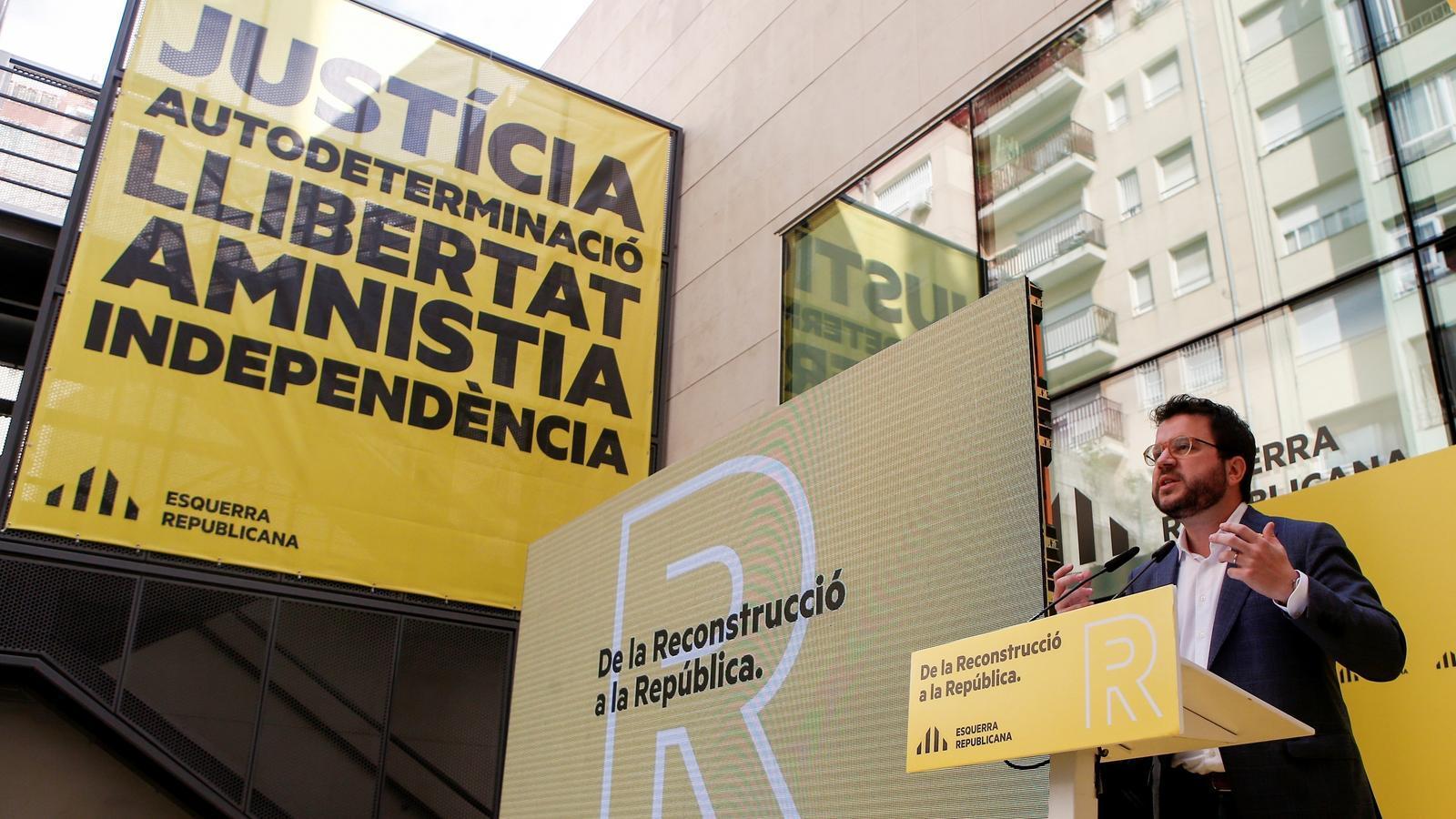 El coordinador nacional d'ERC i vicepresident del Govern, Pere Aragonès, durant la seva intervenció.