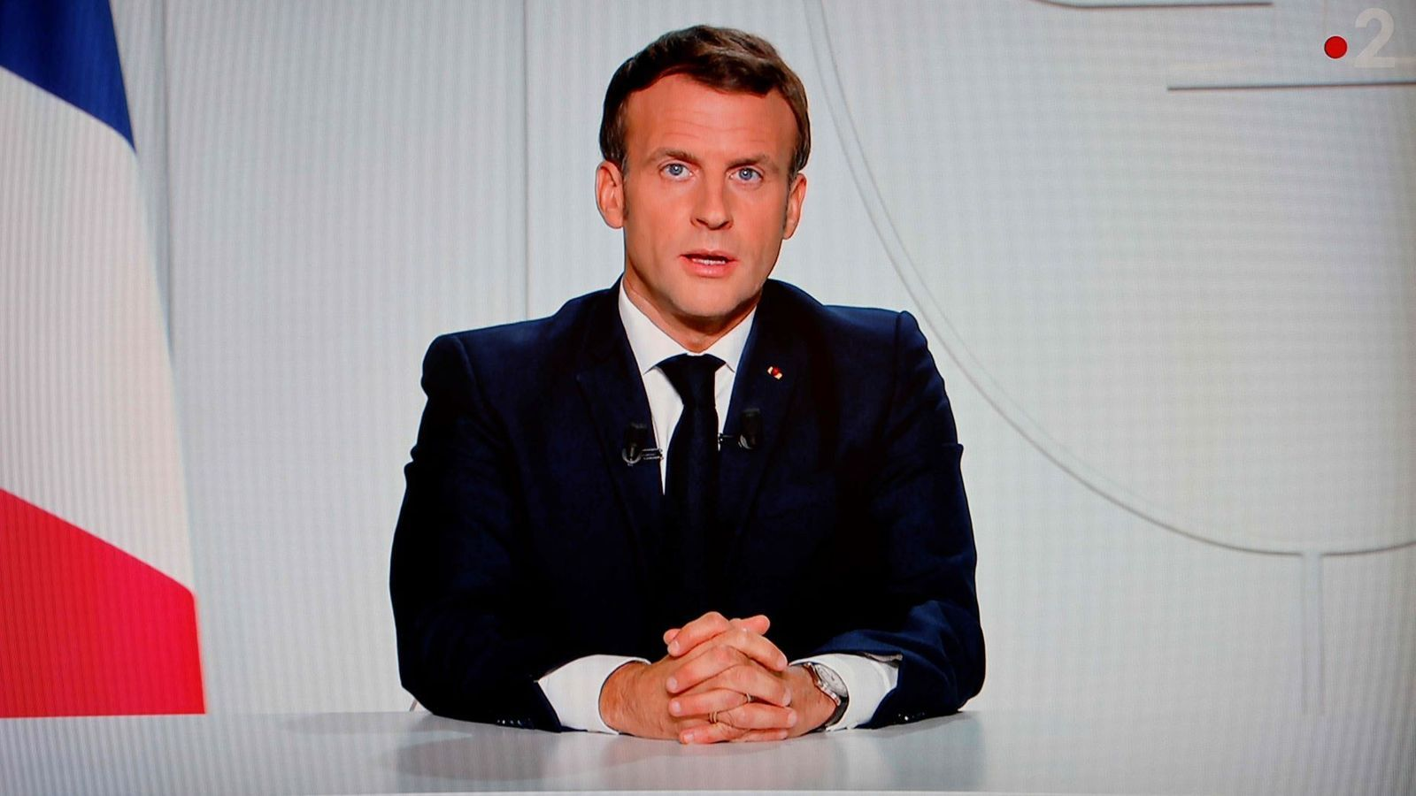 El president de França, Emmanuel Macron, durant el seu discurs d'aquest dimecres