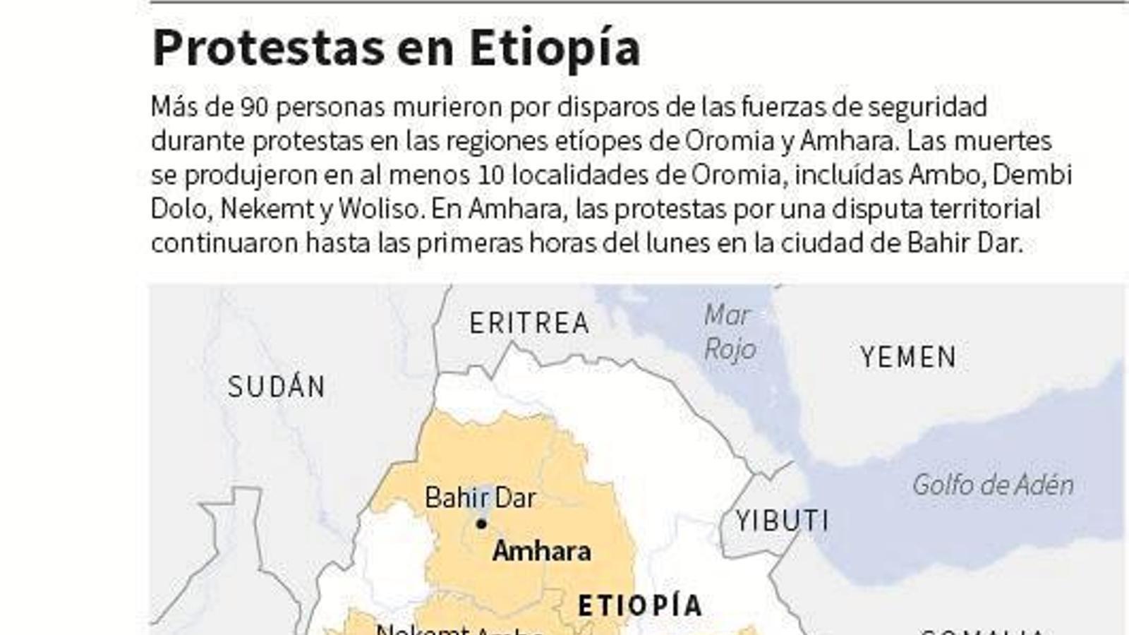 El mapa de les protestes a Etiòpia. / REUTERS