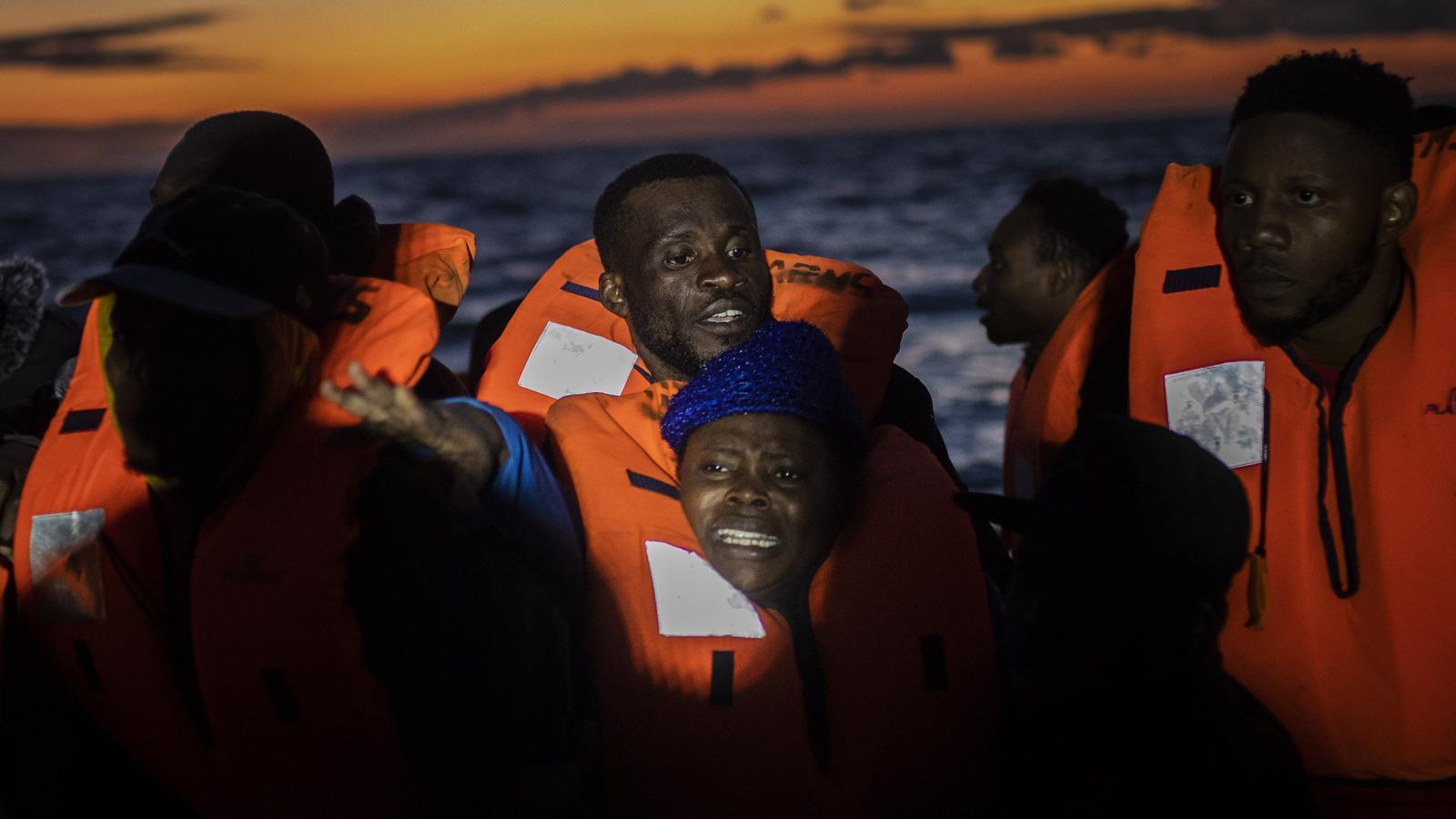 Migrants rescatats per l''Open Arms' aquest divendres al Mediterrani Central. SANTI PALACIOS