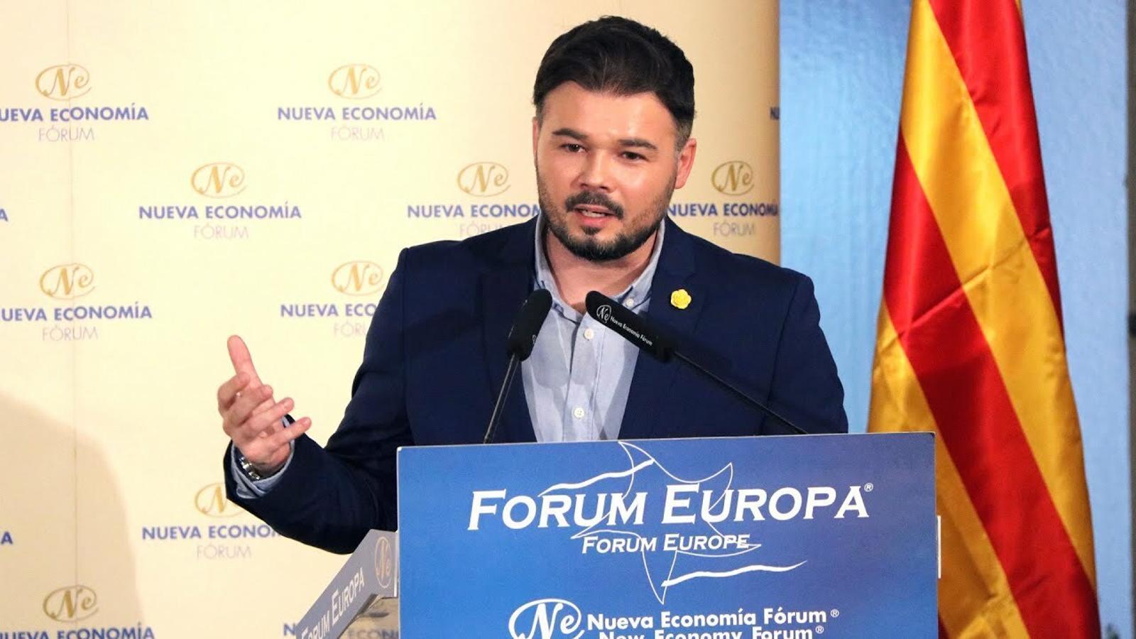 """Rufián, a Puigdemont: """"Està bé que t'aplaudeixin a Perpinyà però el repte és que ho facin a Cornellà"""""""