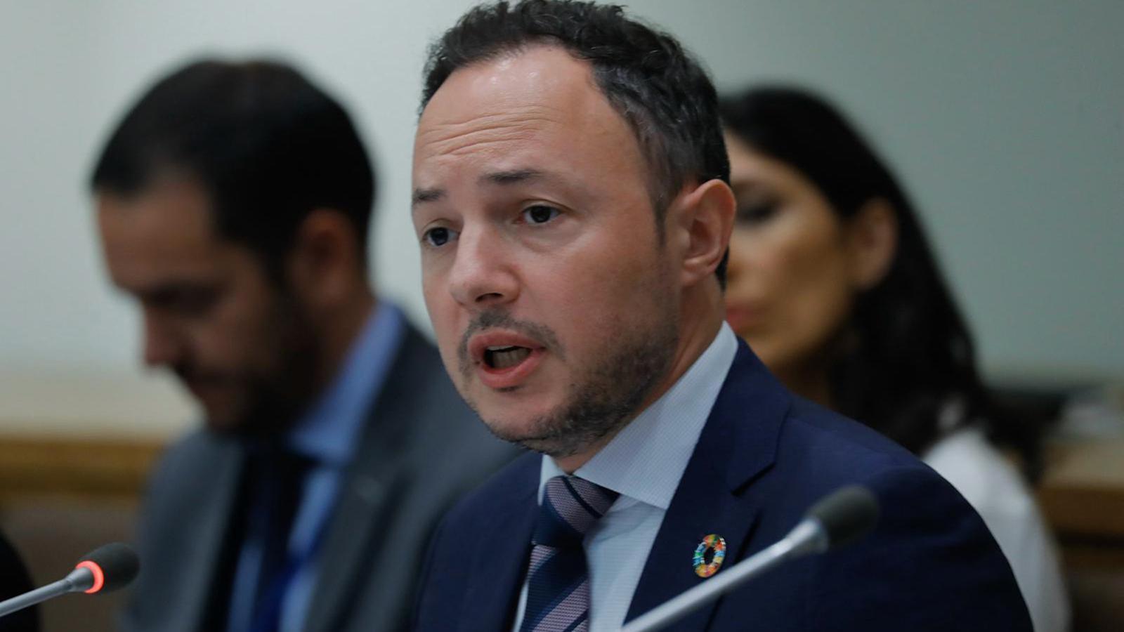 El cap de Govern, Xavier Espot, durant la seva intervenció en un del fòrums en què ha participat durant la seva estada a Nova York. / SFG