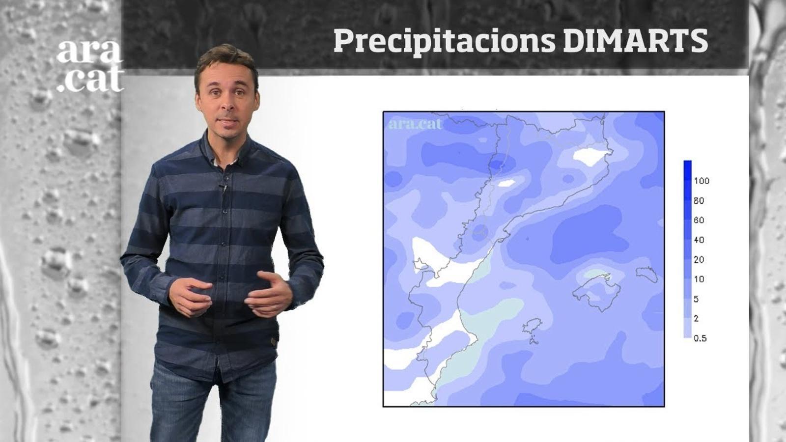 La méteo en 1 minut: nou episodi de pluja dimarts a la tarda