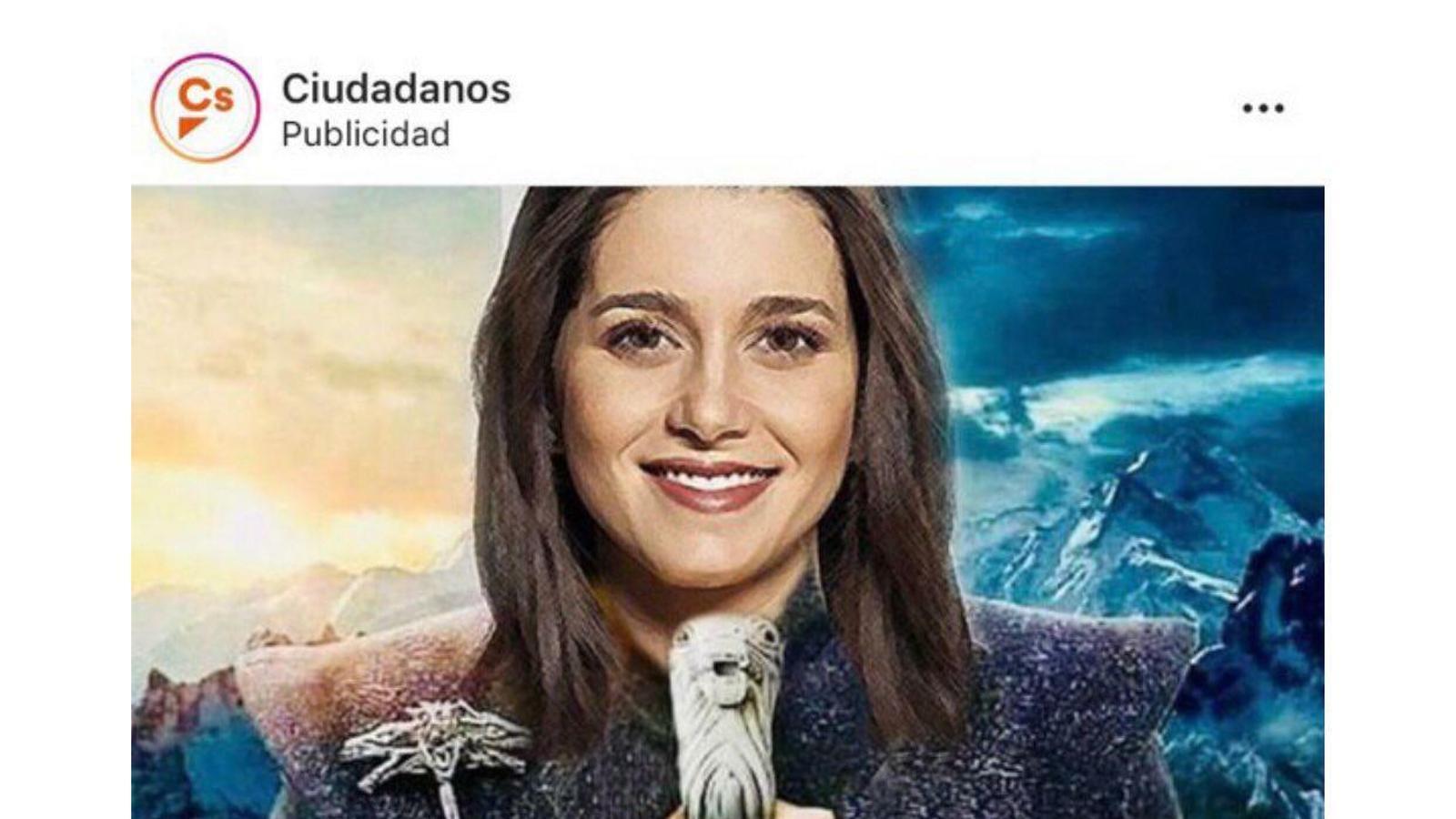 Inés Arrimadas amb la imatge de 'Joc de Trons'