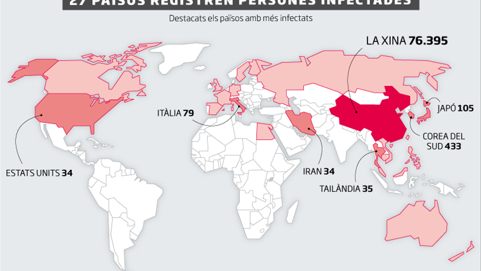"""L'OMS admet """"preocupació"""" pels nous casos de coronavirus fora de la Xina"""