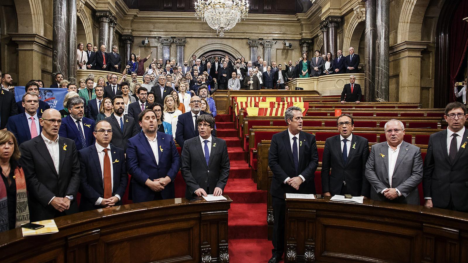 El Parlament, només amb els independentistes, el dia de la declaració. / CÈLIA ATSET