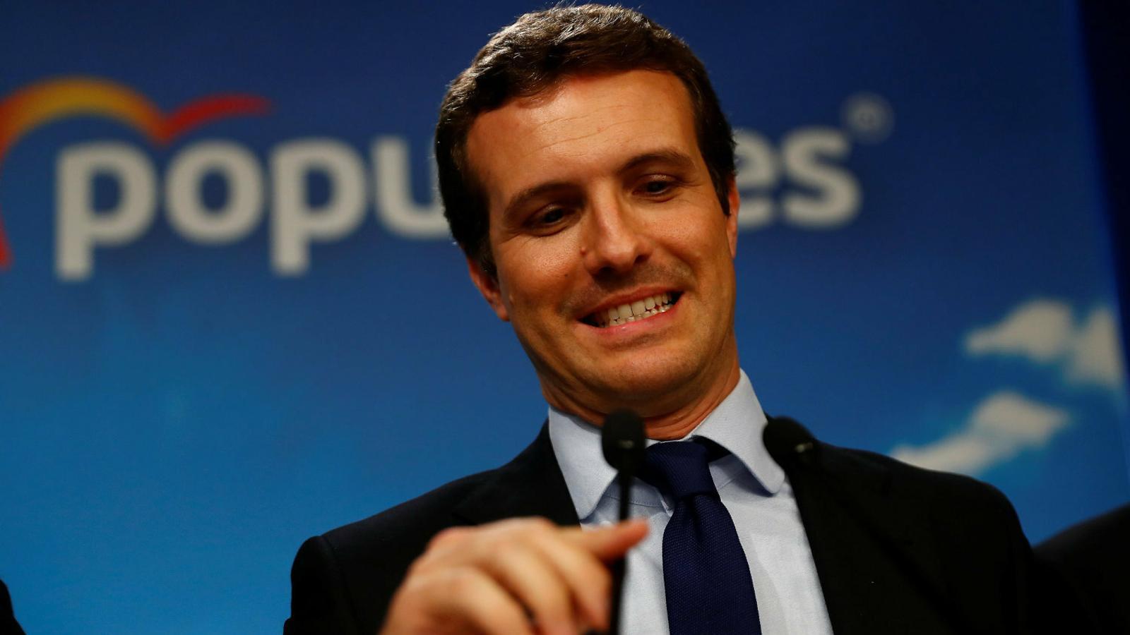 Pablo Casado a la seu del PP a Madrid després de conèixer-se els mals resultats.