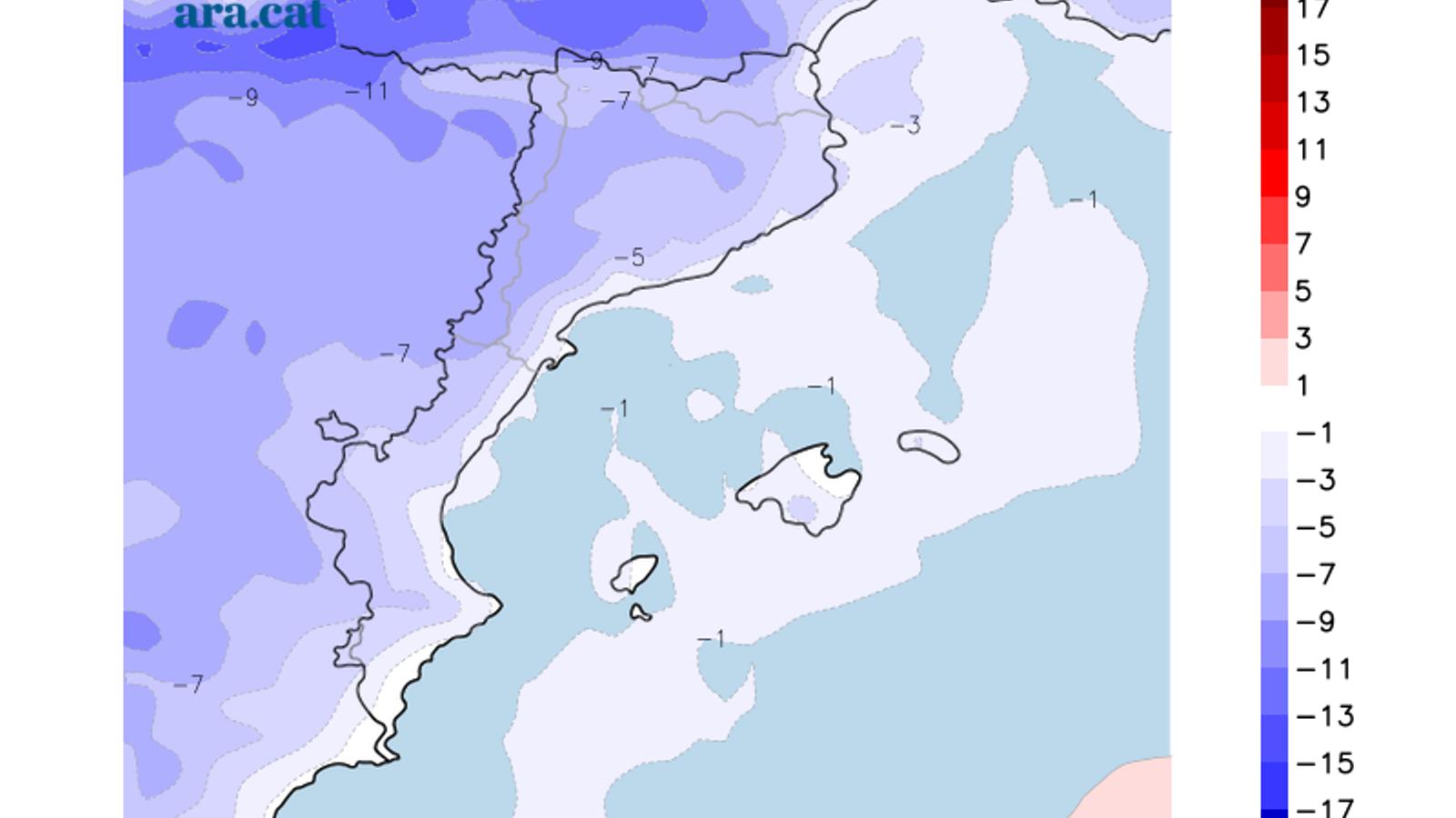 Diferència prevista entre la temperatura màxima d'avui i la de dimarts vinent