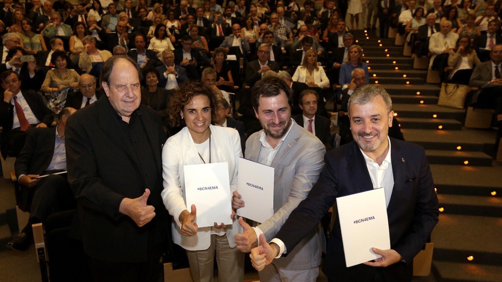 Josep Maria Pou, Dolors Montserrat, Antoni Comín i Jaume Collboni, en l'acte en suport de la candidatura de Barcelona per acollir l'Agència Europea del Medicament el passat mes de juny