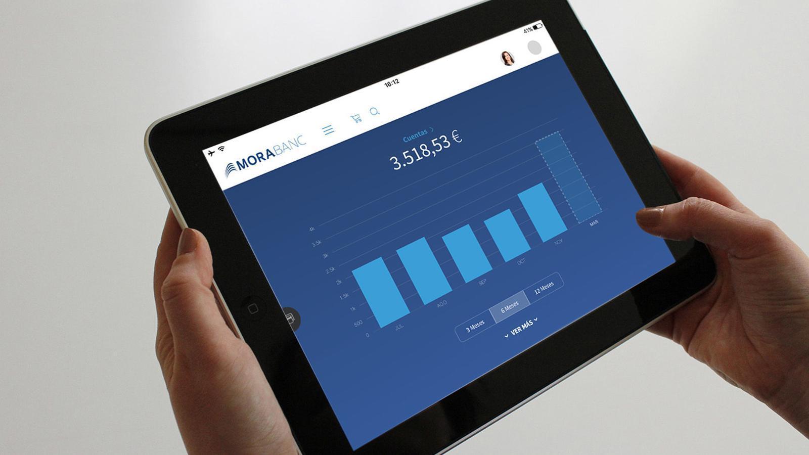 Els accessos a la banca en línia de MoraBanc han tingunt un increment notable. / MORABANC