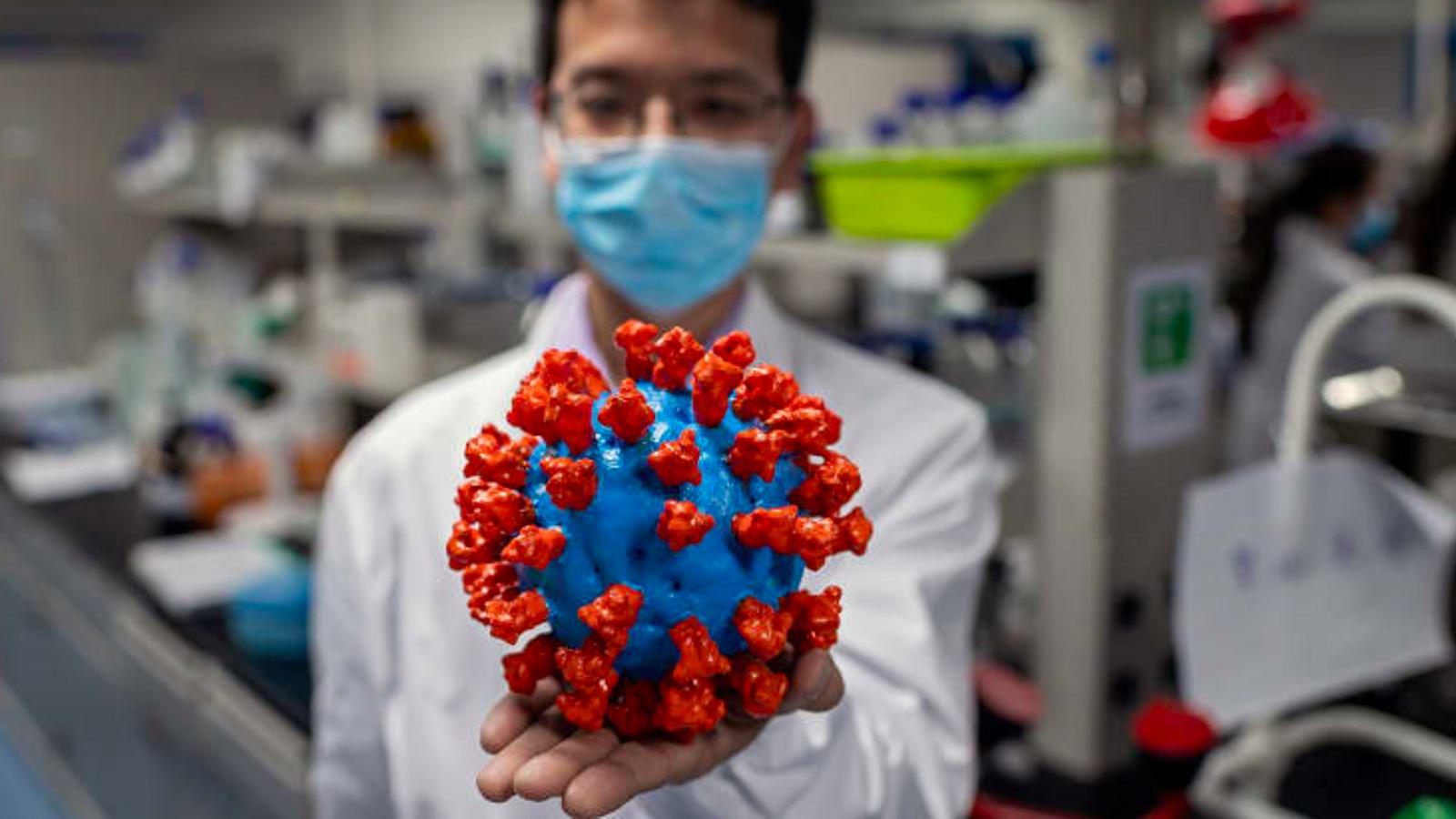 Un enginyer mostra un model plàstic del covid-19 al laboratori de control de qualitat a les instal·lacions de Sinovac Biotech, a Pequín.
