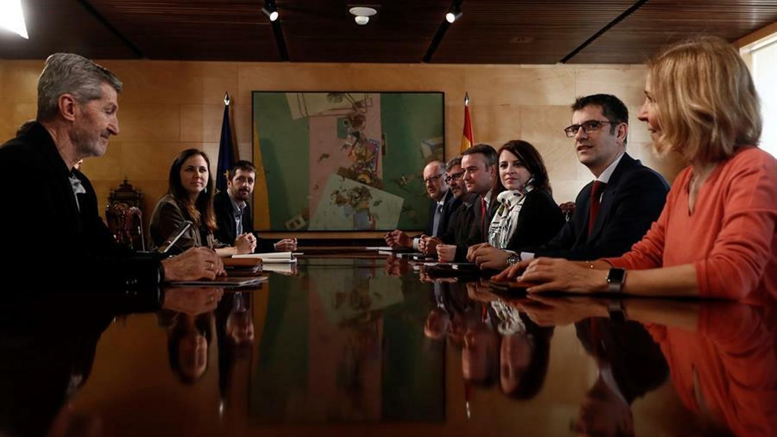 Primera reunió de coordinació entre PSOE i Unides Podem al Congrés