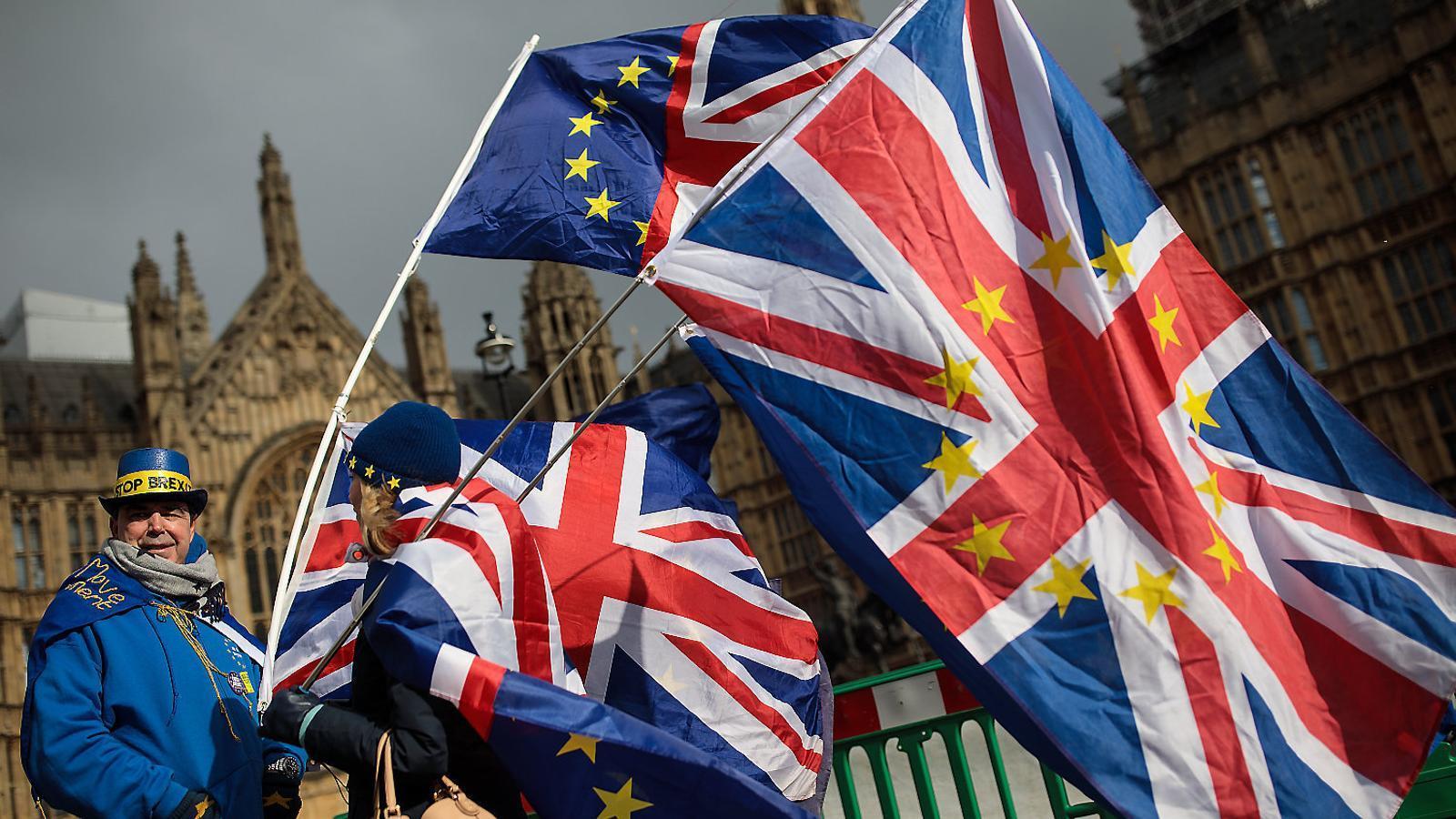 Manifestants contraris al Brexit amb banderes davant el Parlament britànic,  al mes de febrer.