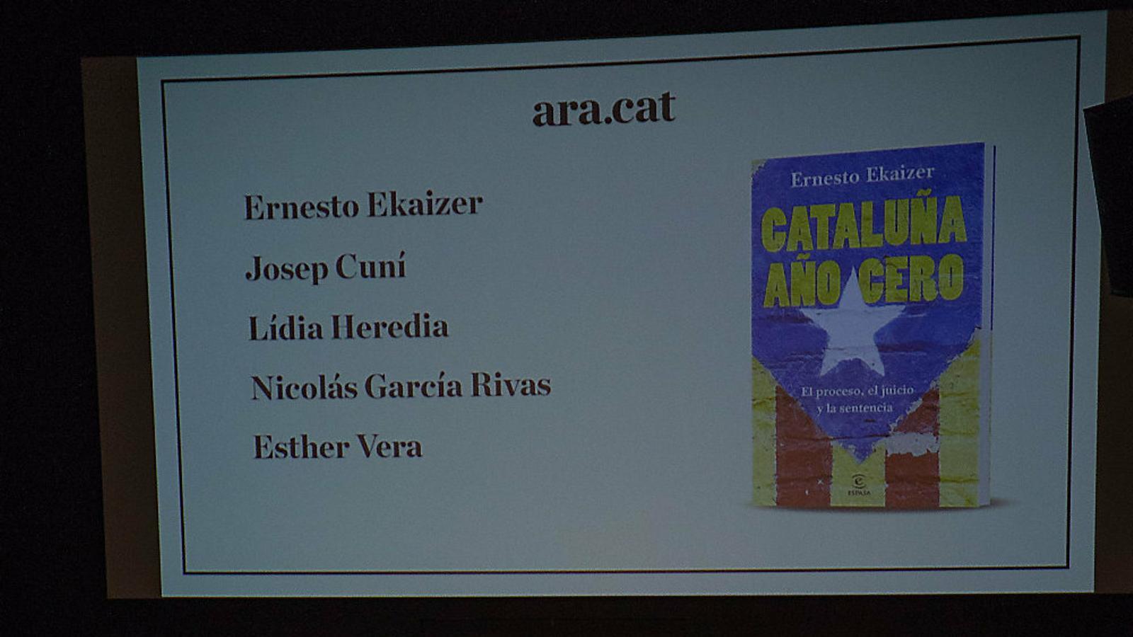 Esther Vera, Josep Cuní, Ernesto Ekaizer, Nicolás García Rivas i Lídia Heredia.