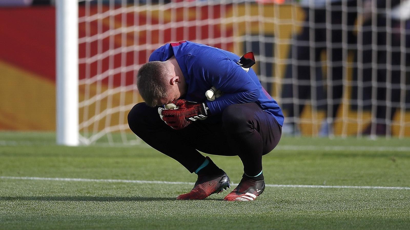 Ter Stegen, durant l'escalfament del Barça-Getafe