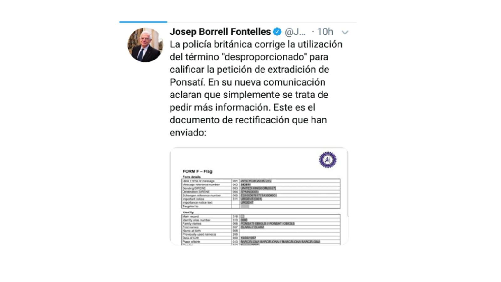 Toc d'atenció de Brussel·les a Borrell per haver publicat informació sobre l'euroordre de Ponsatí