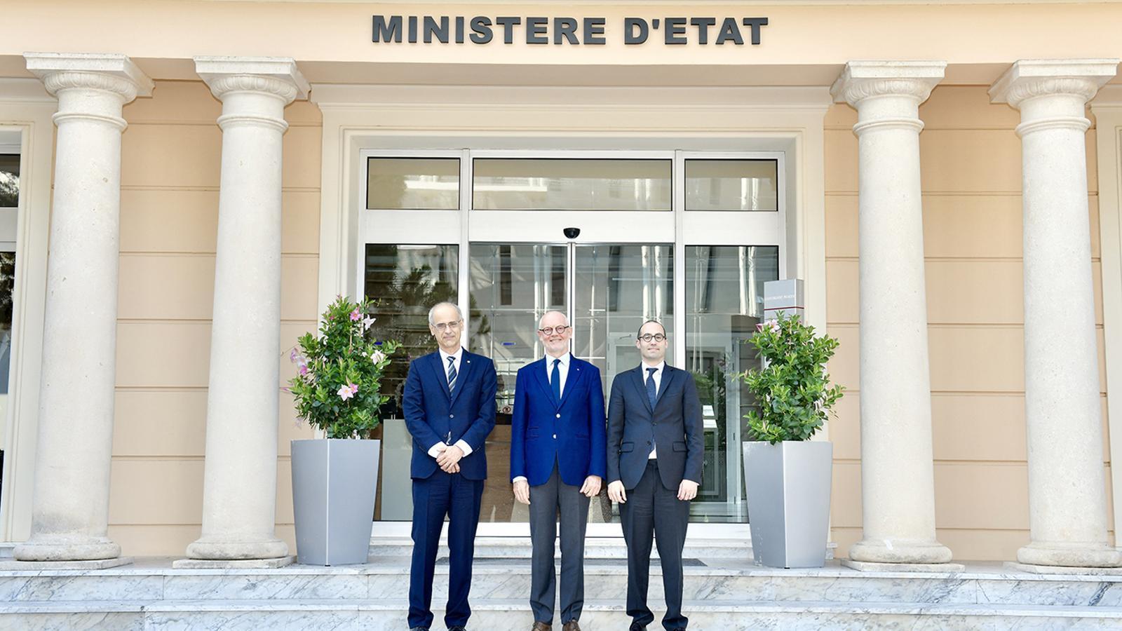El cap de Govern d'Andorra, Toni Martí; el ministre d'Estat de Mònaco, Serge Telle i el secretari d'Estat d'Afers Exteriors, Afers Polítics i de la Justícia de San Marino, Nicola Renzi. / SERVEI FOTOGRÀFIC DEL GOVERN DE MÒNACO