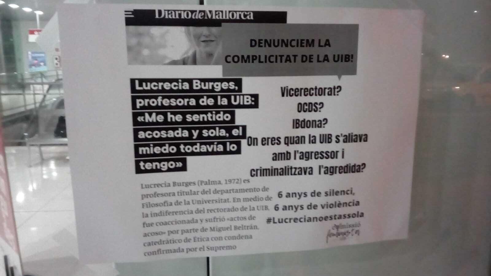 Un dels cartells que s'han penjat a la UIB.