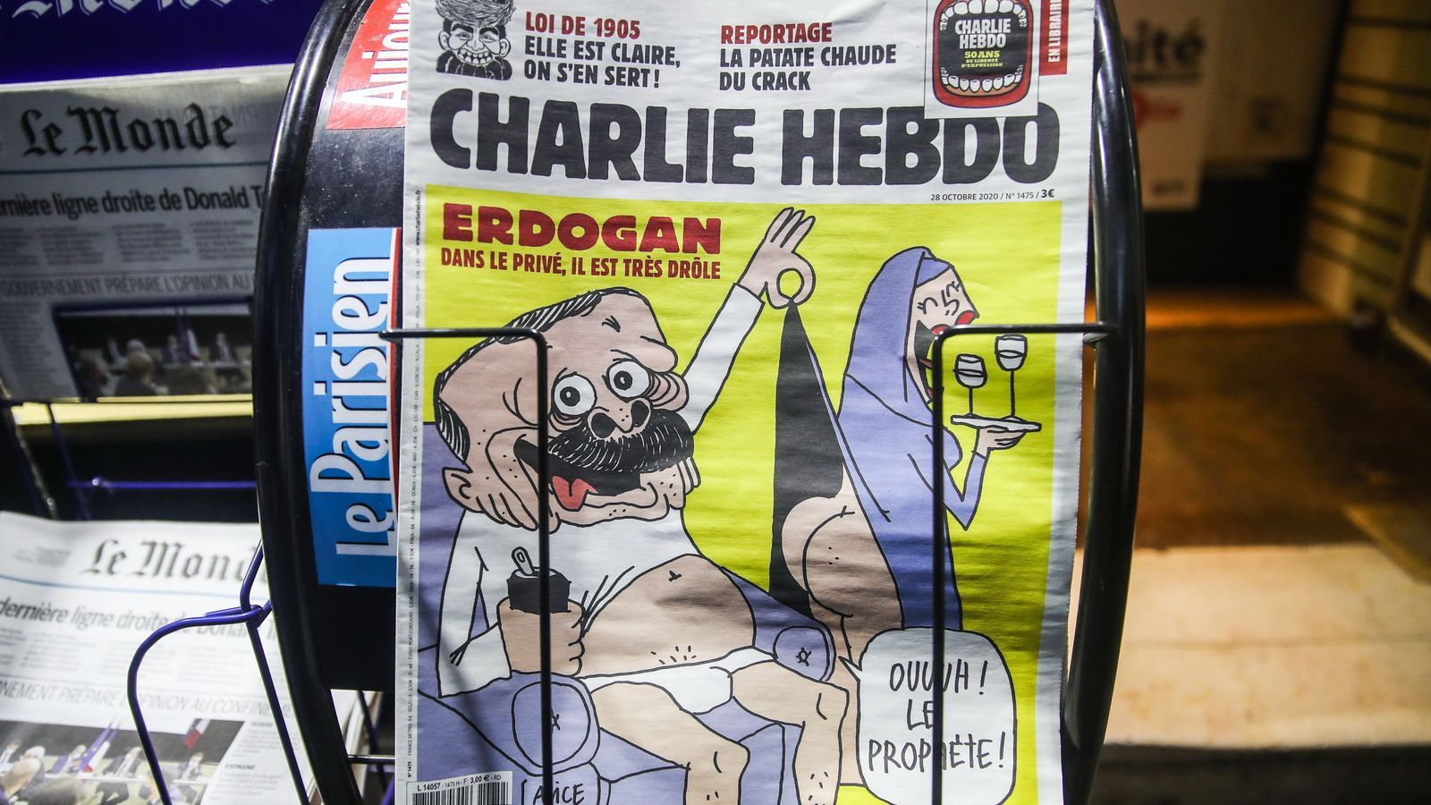 Portada del setmanari Charlie Hebdo, que ha provocat la ira d'Erdogan
