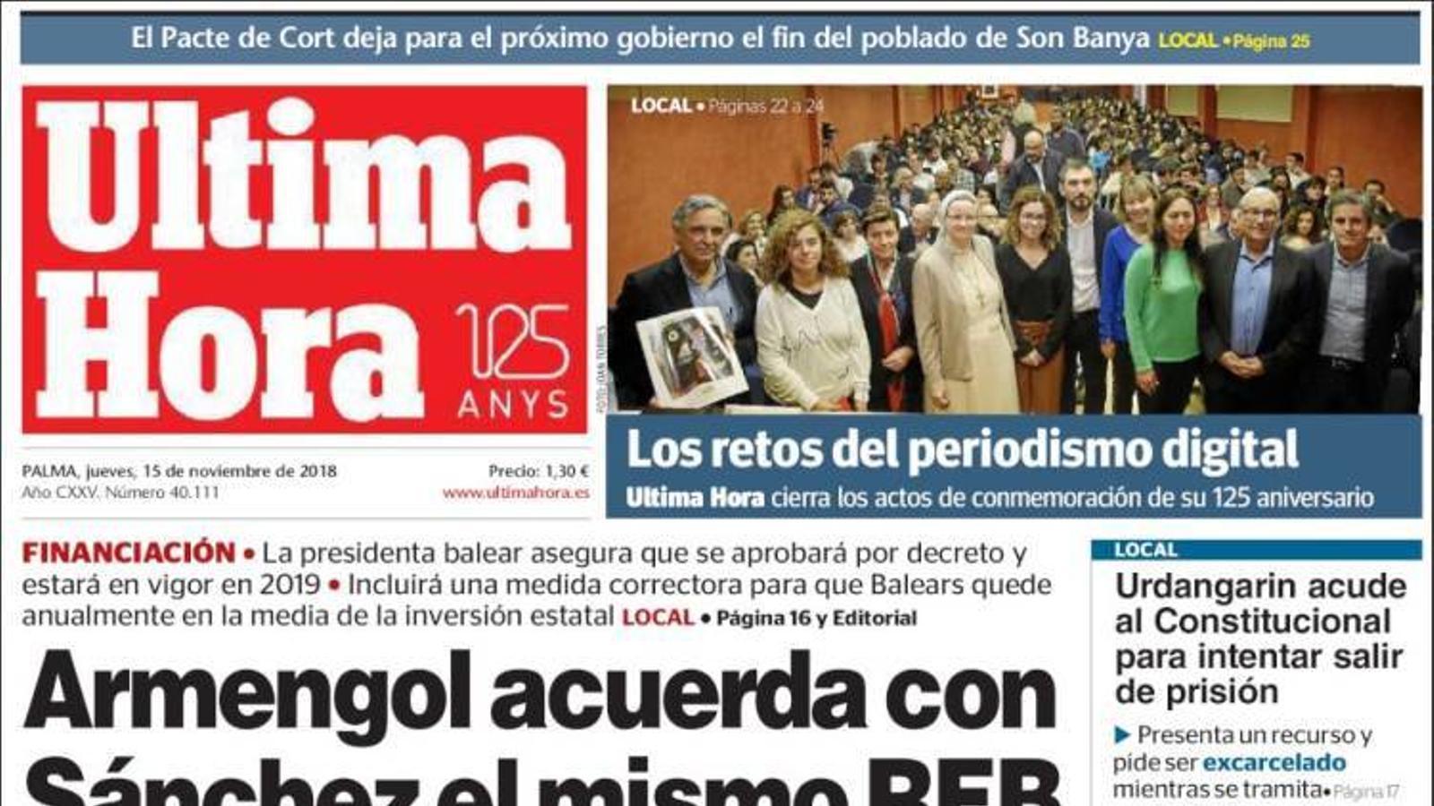 """""""Armengol acorda amb Sánchez el mateix REB que ja li va oferir el PP"""", portada de l''Última Hora'"""