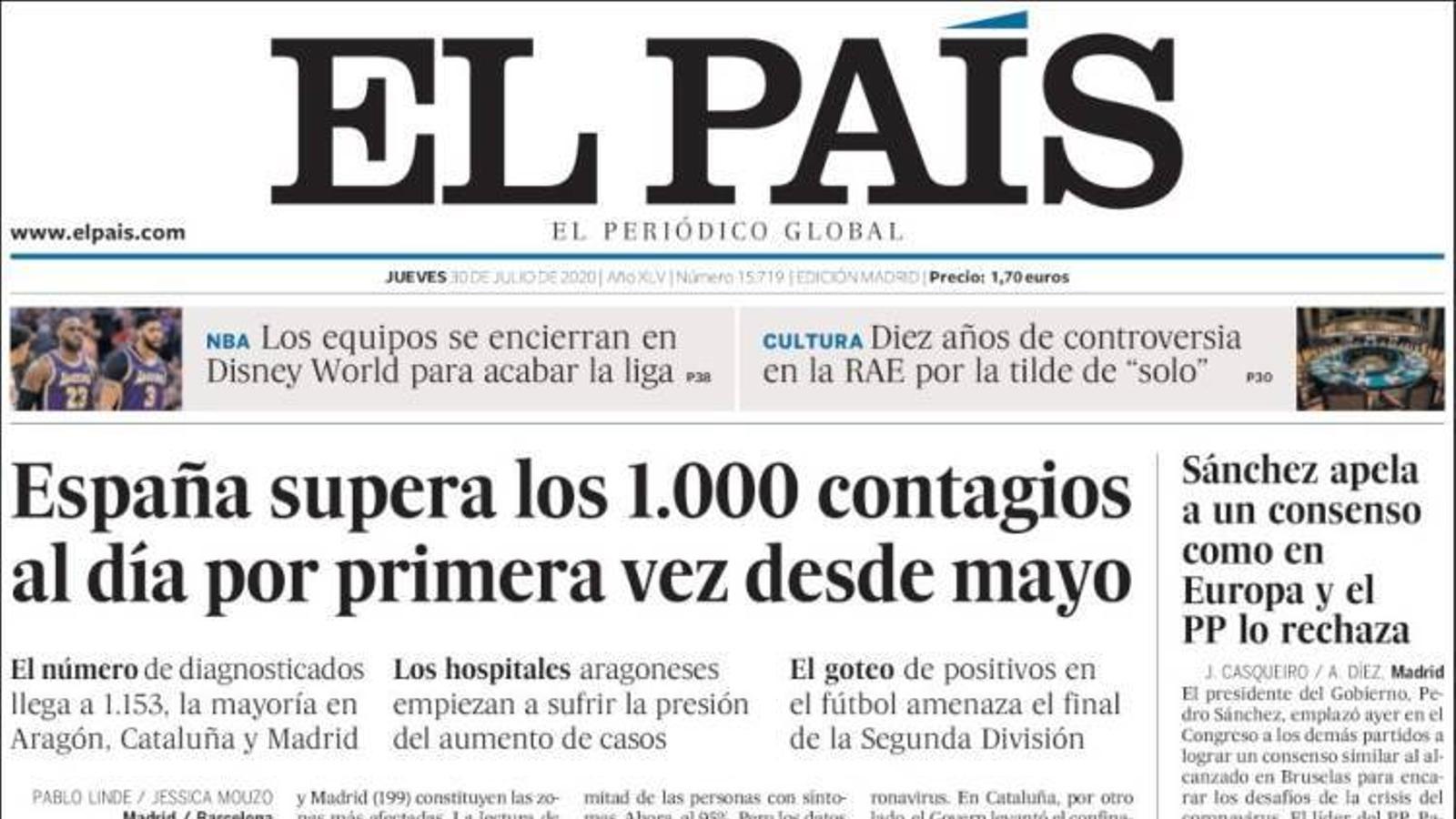 Portada d'El País, 30 de juliol del 2020