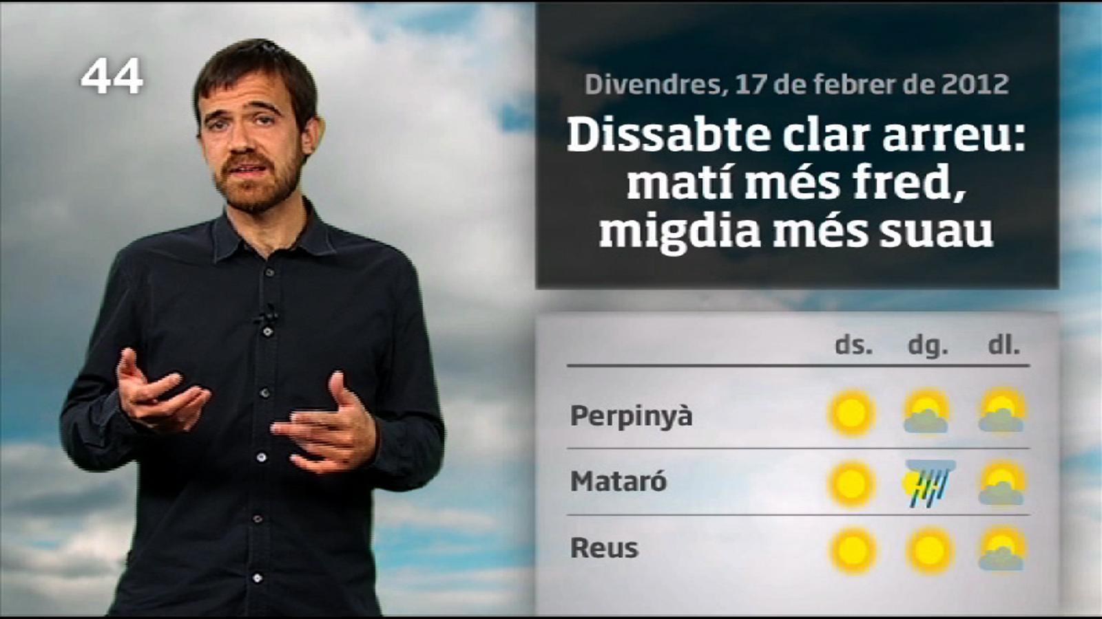 La méteo en 1 minut: cap de setmana amb sol i alguns xàfecs al final (18/02/12)