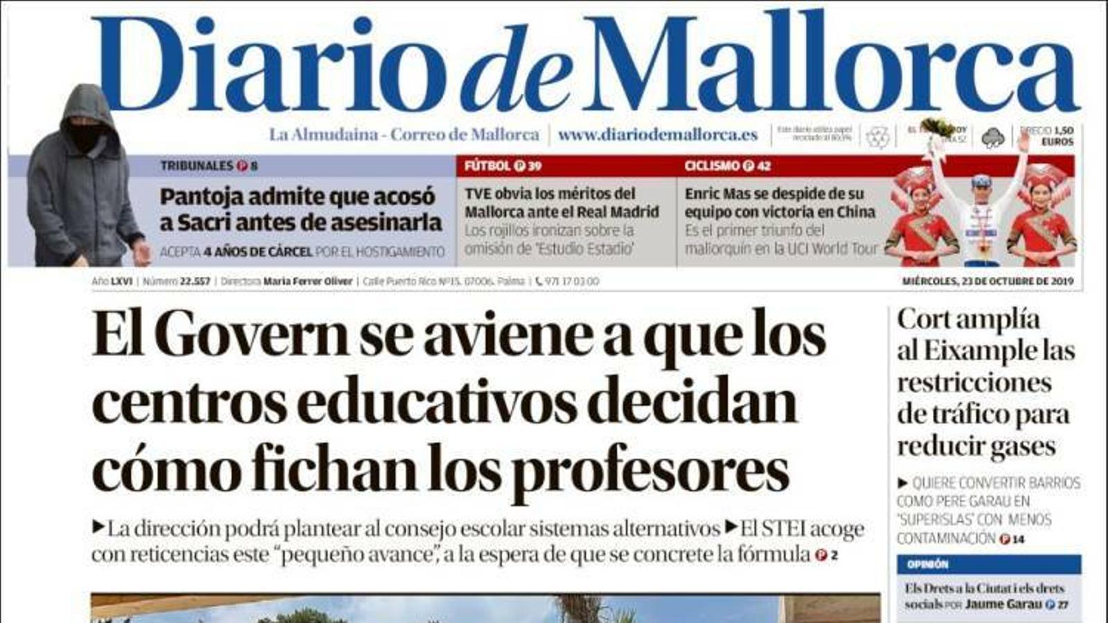 """""""Iceta elogia que la sentència permeti alliberar aviat els presos de l'1-O"""", a la portada de 'Diario de Mallorca'"""
