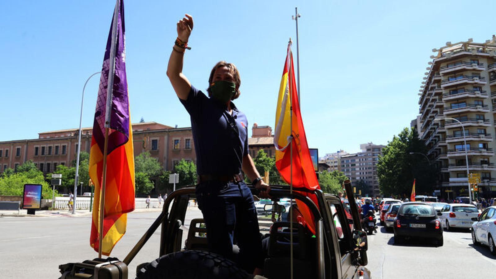 El líder de Vox, Jorge Campos, durant la manifestació de Vox a Palma