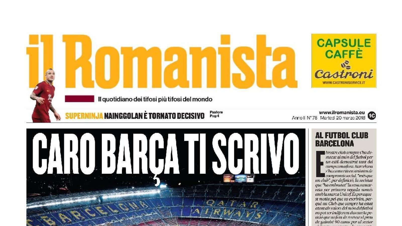 Portada del diari 'Il Romanista', adreçant-se al Barça pel preu de les entrades