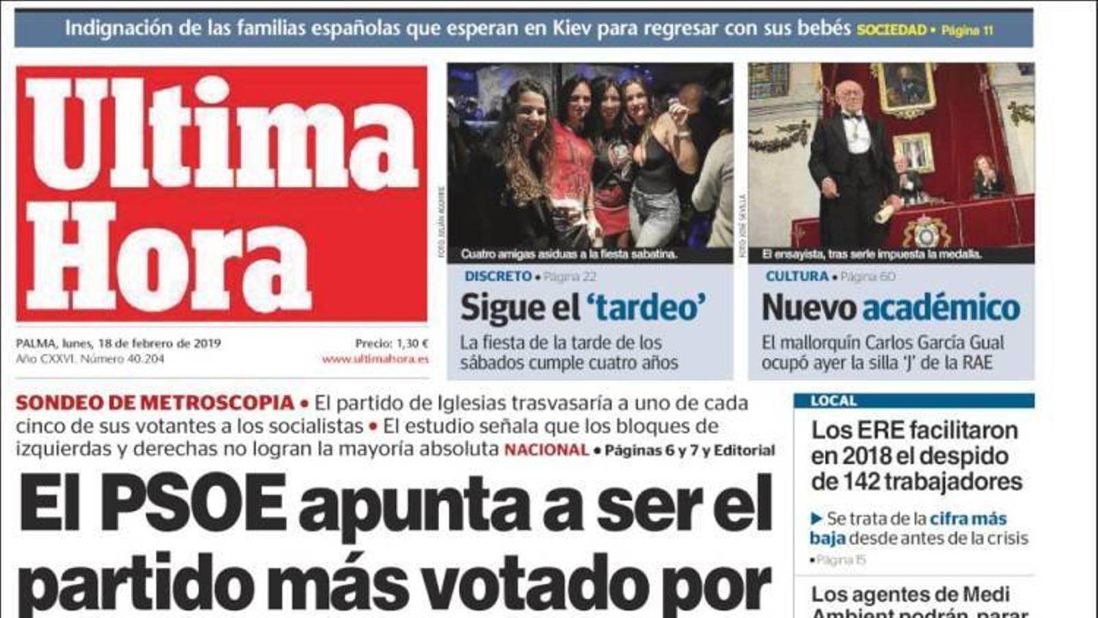 """""""El PSOE apunta a ser el partit més votat per la desfeta de Podem"""", la portada d''Última Hora'"""