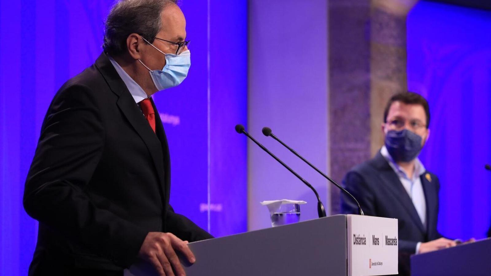 El president de la Generalitat, Quim Torra, i el vicepresident del Govern i conseller d'Economia i Hisenda, Pere Aragonès / JORDI BEDMAR / GENERALITAT