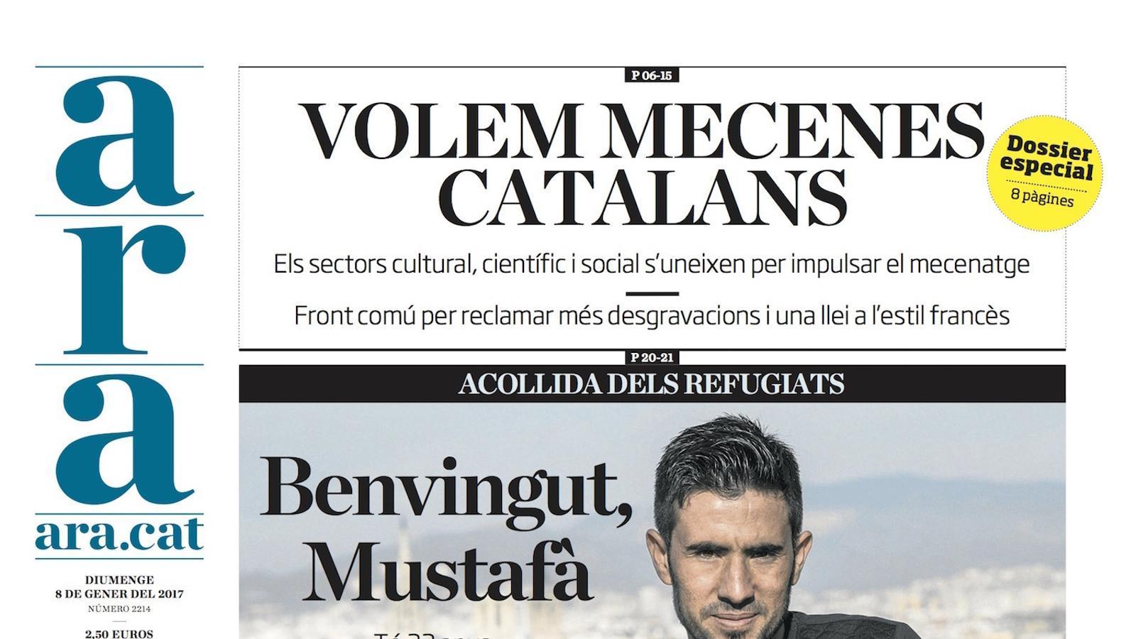 """""""Volem mecenes catalans"""", a la portada de l'ARA"""