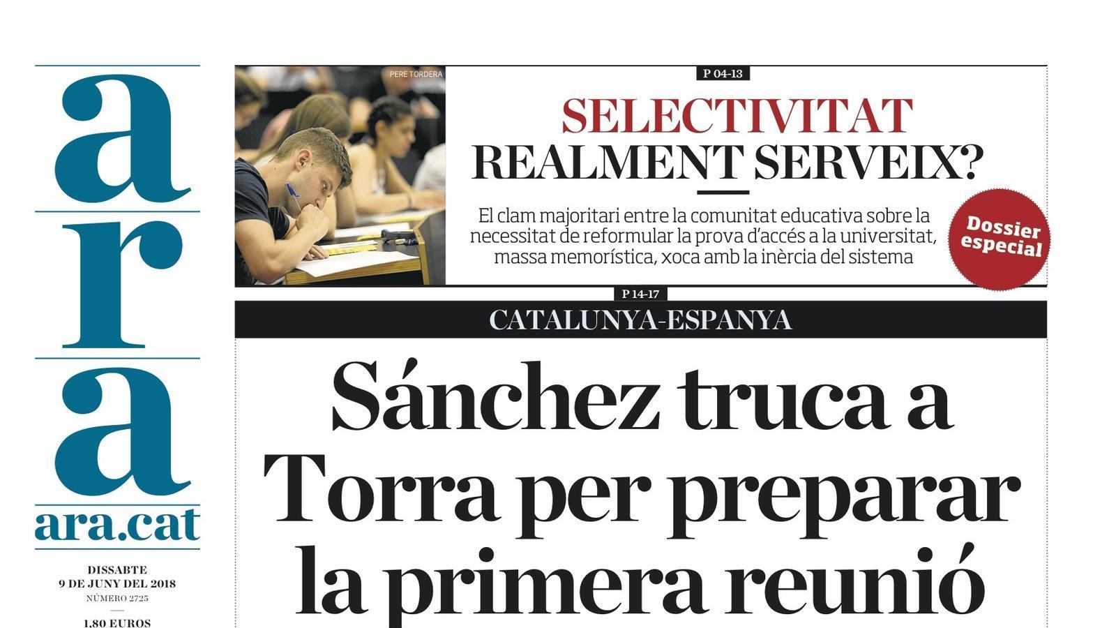 """""""Sánchez truca a Torra per preparar la primera reunió"""", portada de l'ARA"""
