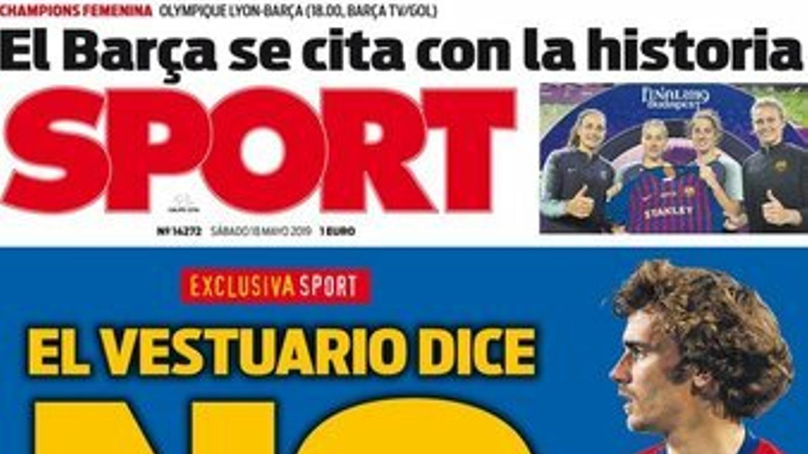 Els jugadors del Barça no volen fitxar Griezmann, segons el diari 'Sport'