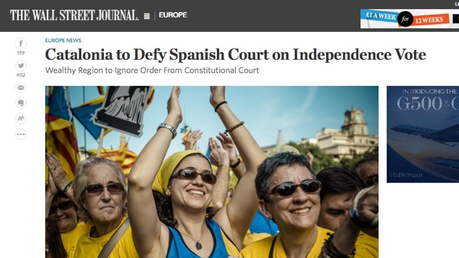 """""""Catalunya desafiarà el tribunal espanyol amb una votació per la independència"""", a 'The Wall Street Journal"""""""