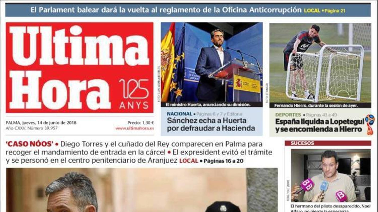 """Màxim, ministre mínim"", portada d''El Mundo'"