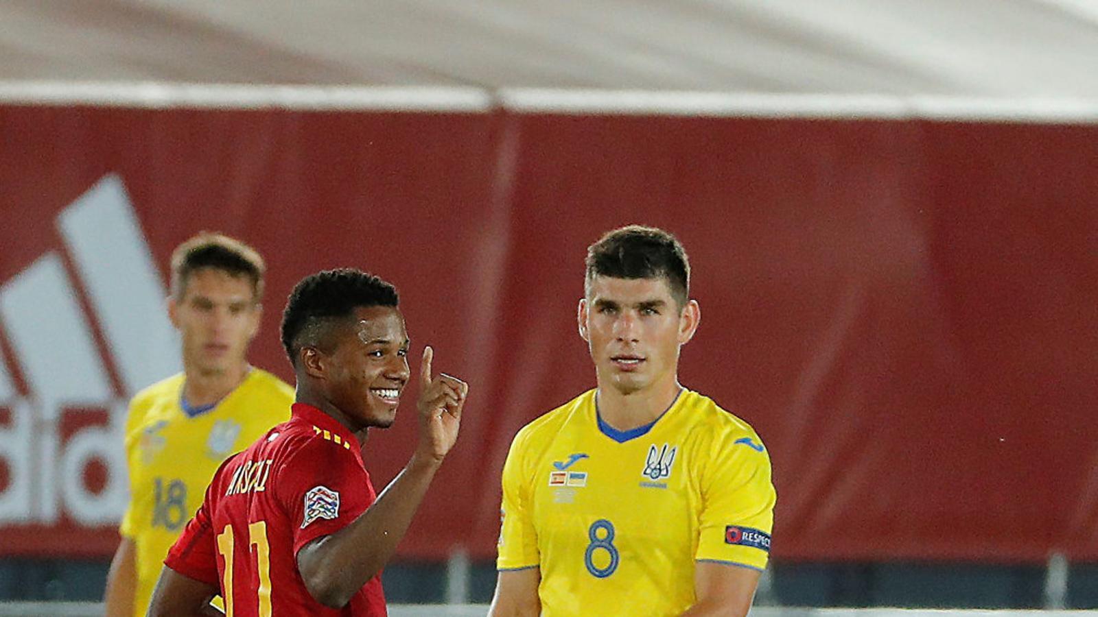 Ansu Fati celebrant el seu gol contra Ucraïna.
