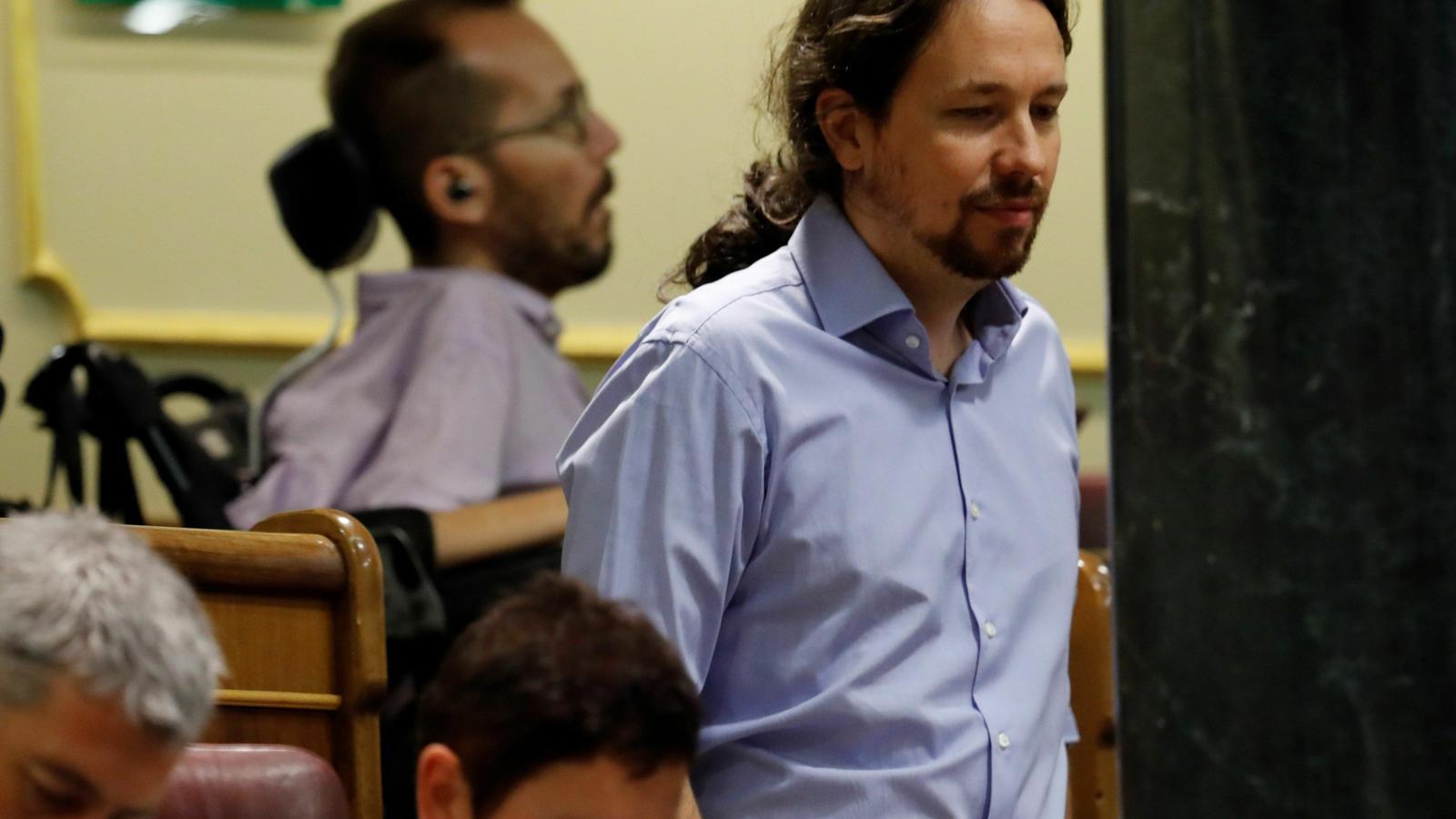 Pablo Echenique i Pablo Iglesias, diputats de Podem, aquest dimarts al Congrés.