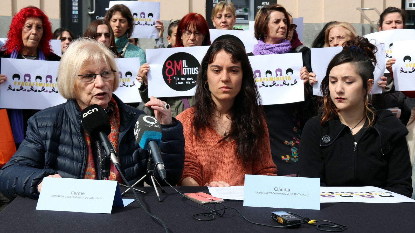 La roda de premsa del comitè de vaga del 8-M a Sant Cugat del Vallès