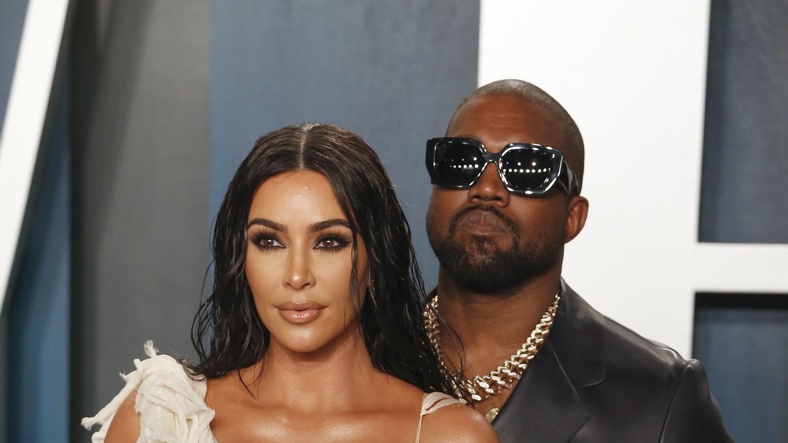 Kim Kardashian i Kanye West en una festa posterior als Oscars d'enguany