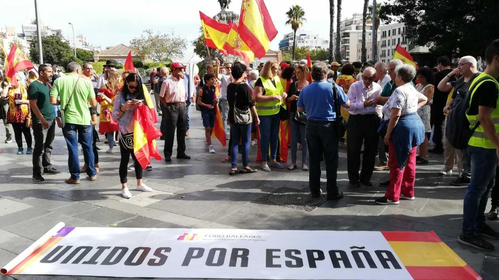 Un moment de la manifestació d'aquest 12 d'octubre a Palma