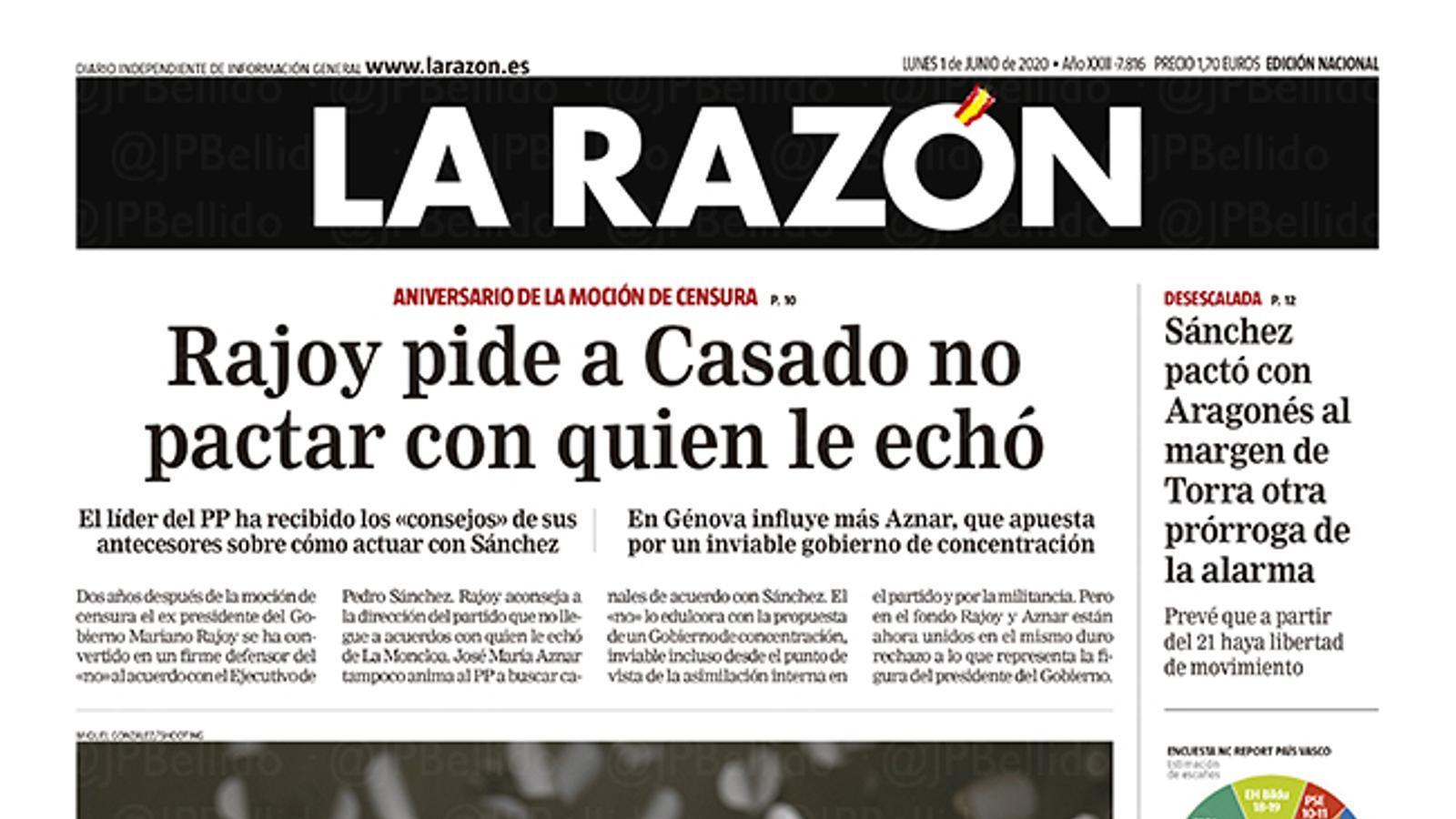 La portada de 'La Razón' del dilluns 1 de juny de 2020
