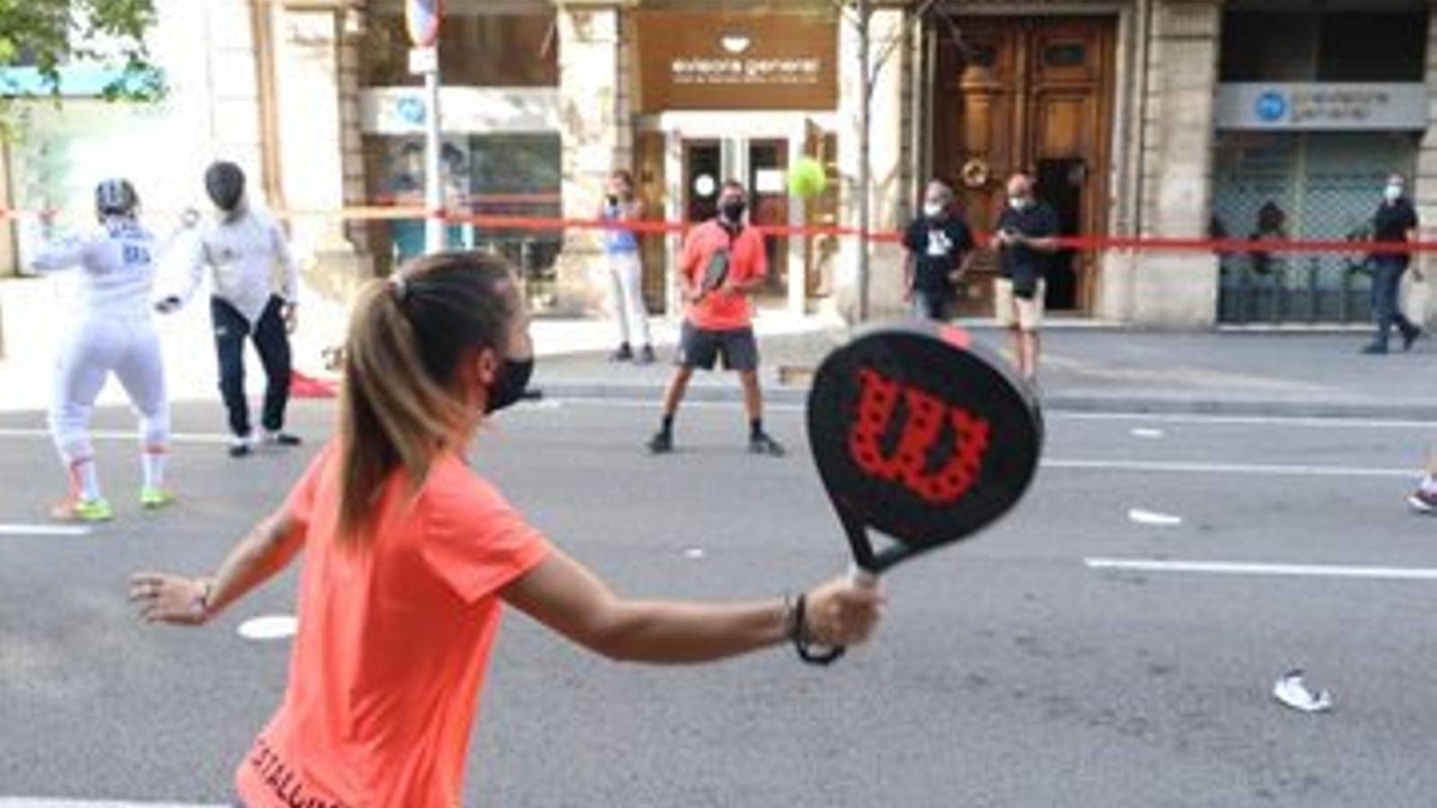 Mobilització del sector de l'esport al centre de Barcelona