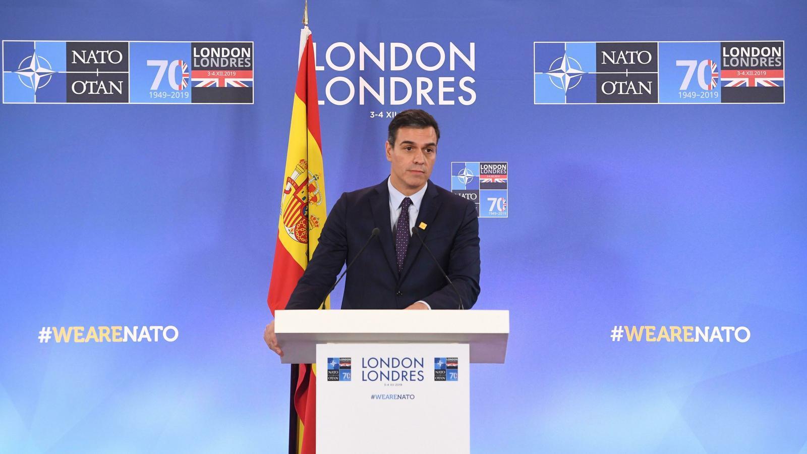 Pedro Sánchez, durant la seva compareixença davant la premsa, aquesta tarda de dimecres, a Londres