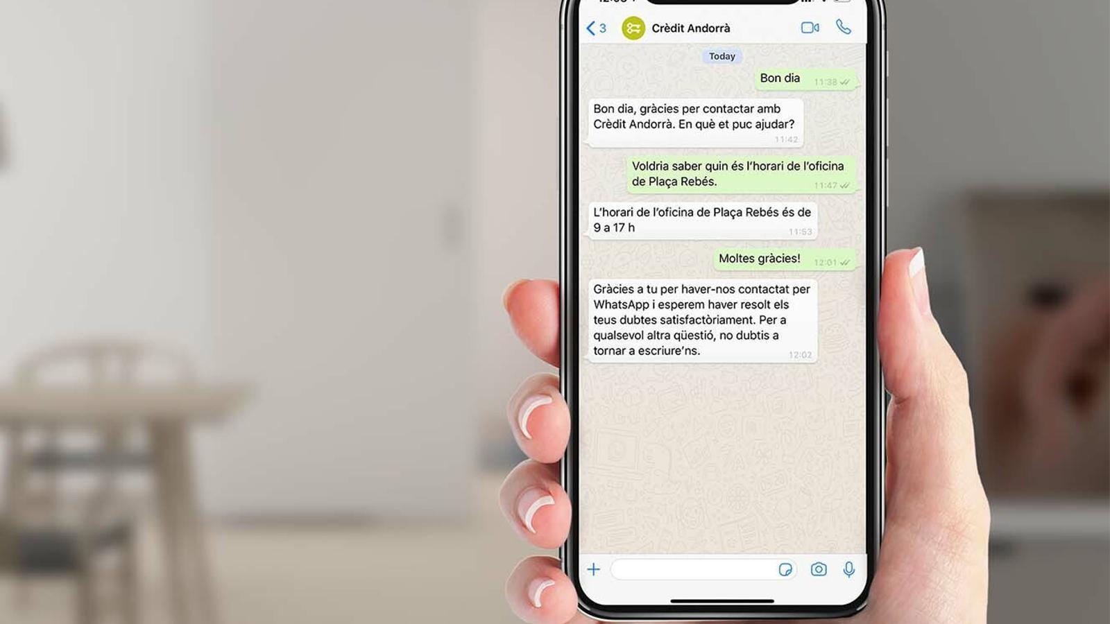 Crèdit Andorrà ha llançat un canal de comunicació mitjançant WhatsApp. / CRÈDIT ANDORRÀ
