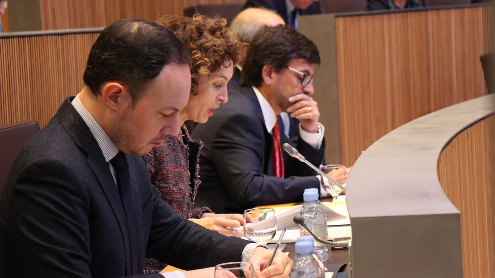 La ministra d'Afers Exteriors, Maria Ubach (al centre), durant la seva intervenció. / M. M. (ANA)