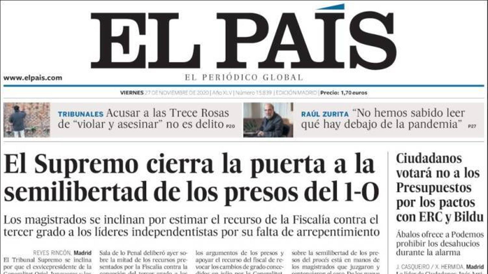 Portada 27 novembre 2020 El País