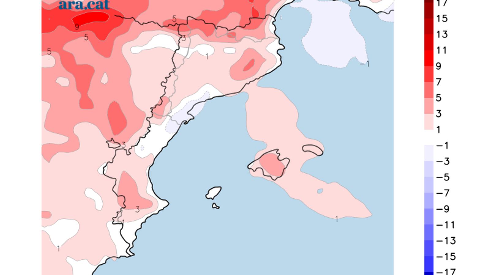 Diferència de temperatura entre avui i ahir / Model GFS - ARAméteo